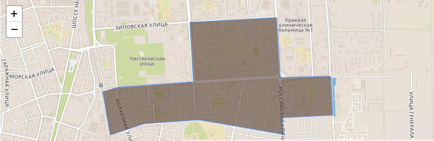 Границы района «40 лет Победы» в Краснодаре